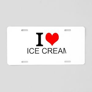 I Love Ice Cream Aluminum License Plate