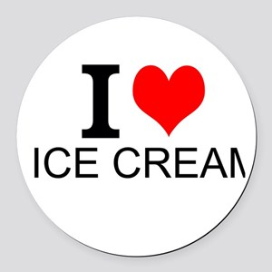 I Love Ice Cream Round Car Magnet