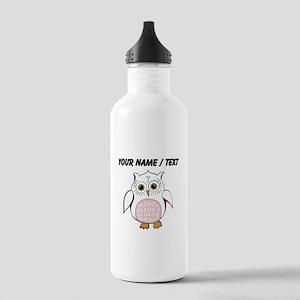 Custom White Cartoon Owl Water Bottle