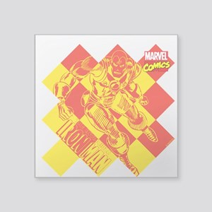 "Iron Man Checkered Square Sticker 3"" x 3"""