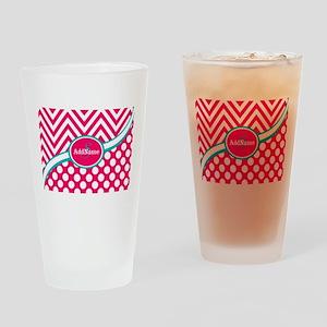 Hot PinkTeal Chevron Dots Monogram Drinking Glass