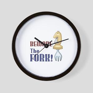 Chess: Beware of Knight Fork Wall Clock