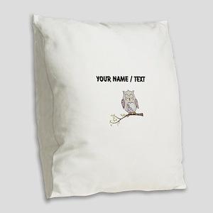 Custom Sleeping Owl Burlap Throw Pillow