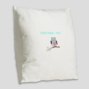 Custom Blue Sleeping Owl Burlap Throw Pillow