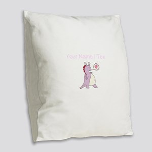 Custom Love Dinosaur Burlap Throw Pillow