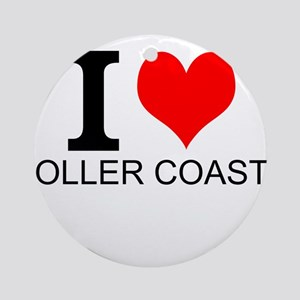 I Love Roller Coasters Ornament (Round)