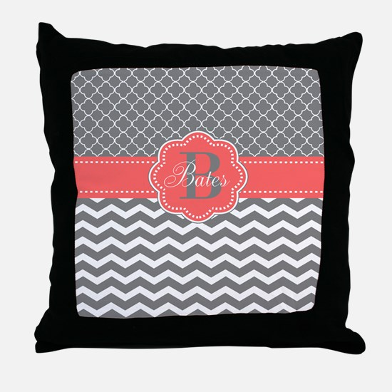 Gray Coral Chevron Quatrefoil Personalized Throw P