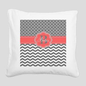 Gray Coral Chevron Quatrefoil Personalized Square