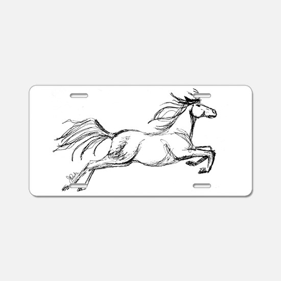 Leaping Art Horse Aluminum License Plate