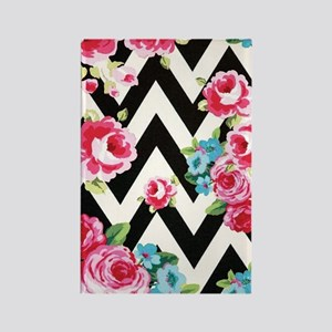 Roses And Chevron Rectangle Magnet