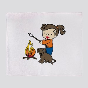 Campfire Girl Throw Blanket
