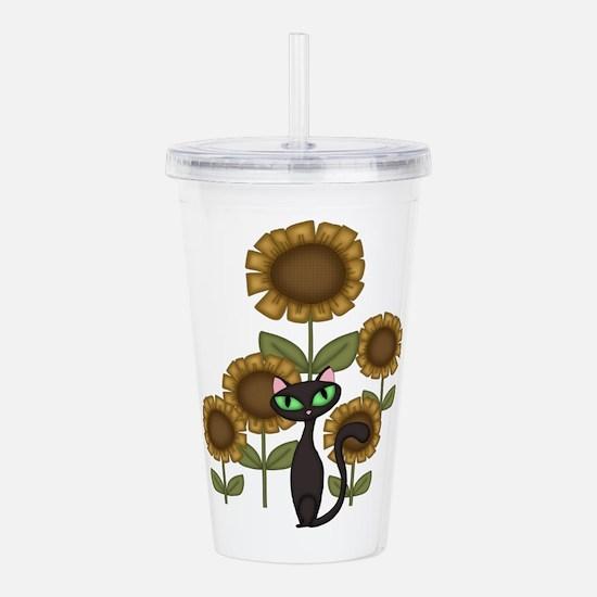 Sunflower Black Cat Acrylic Double-wall Tumbler