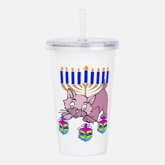 Hanukkah Dreidel Cat Acrylic Double-wall Tumbler