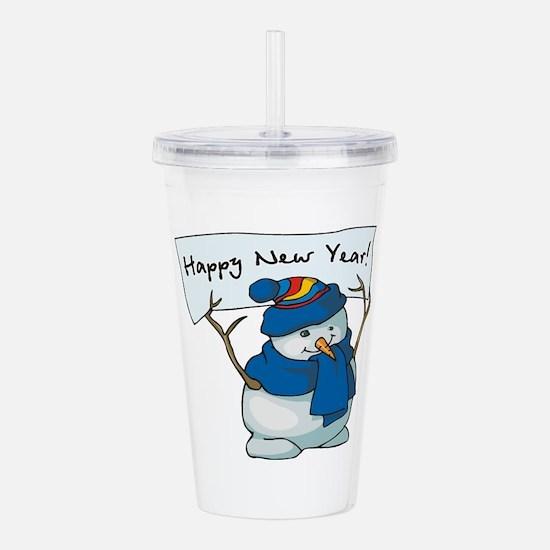 New Years Snowman Acrylic Double-wall Tumbler