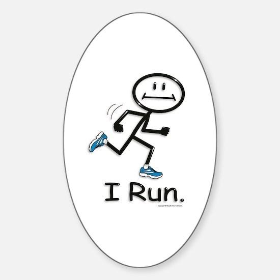 Running Stick Figure Sticker (Oval)
