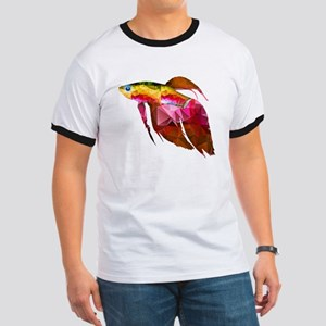 Beta Fish for Polygon Mosaic Red Yellow T-Shirt