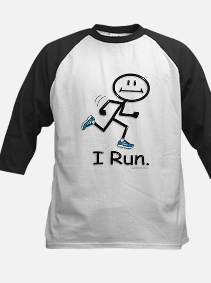 Running Stick Figure Kids Baseball Jersey