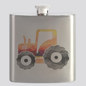 Polygon Mosaic Orange Tractor Flask