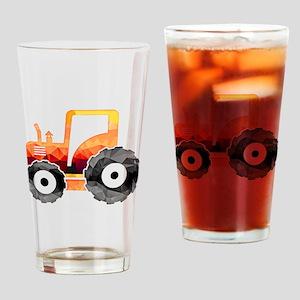Polygon Mosaic Orange Tractor Drinking Glass