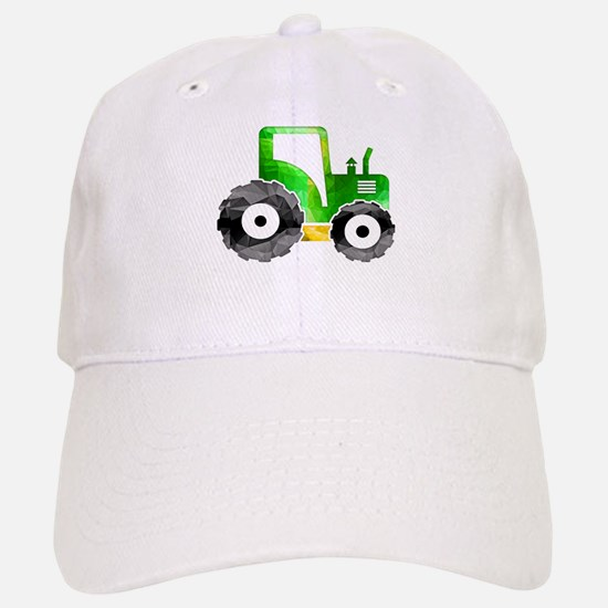 Polygon Mosaic Green Yellow Tractor Baseball Cap