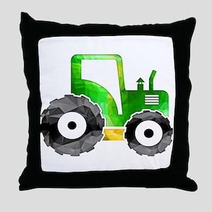 Polygon Mosaic Green Yellow Tractor Throw Pillow