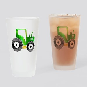 Polygon Mosaic Green Yellow Tractor Drinking Glass