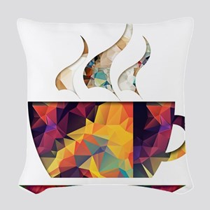 Colorful Cup of Coffee copy Woven Throw Pillow