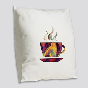 Colorful Cup of Coffee copy Burlap Throw Pillow