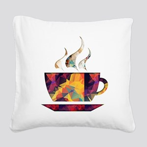 Colorful Cup of Coffee copy Square Canvas Pillow