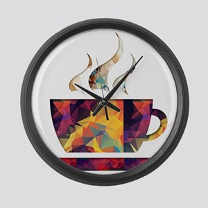 Colorful Cup of Coffee copy Large Wall Clock