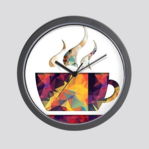 Colorful Cup of Coffee copy Wall Clock