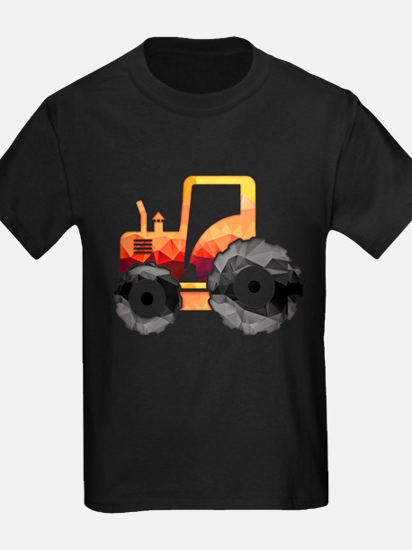 Polygon Mosaic Orange Tractor T-Shirt