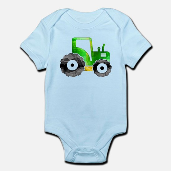 Polygon Mosaic Green Yellow Tractor Body Suit