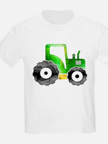 Polygon Mosaic Green Yellow Tractor T-Shirt