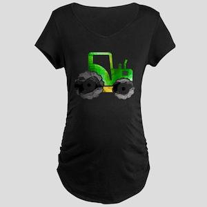 Polygon Mosaic Green Yellow Tractor Maternity T-Sh