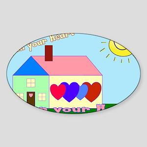 Open your heart w/website Sticker