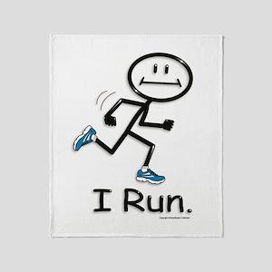 Running Stick Figure Throw Blanket