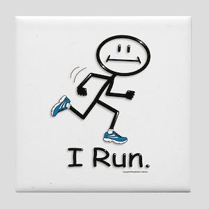 Running Stick Figure Tile Coaster