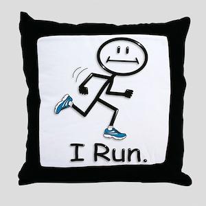Running Stick Figure Throw Pillow