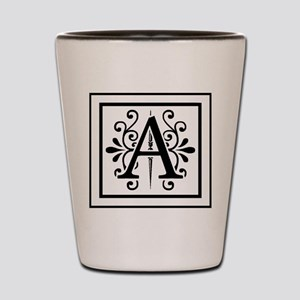 MONOGRAM A IN BLACK Shot Glass