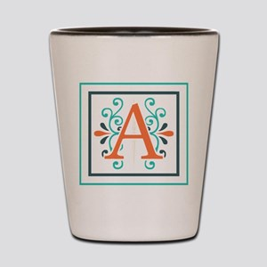 MONOGRAM, A, CORAL, BLUE, GREEN Shot Glass