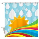 After The Shower Rainbow Shower Curtain