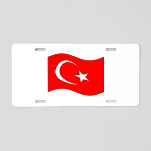 Waving Turkey Flag Aluminum License Plate