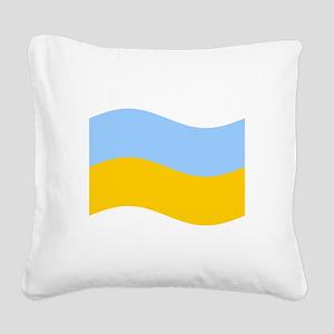 Waving Ukraine Flag Square Canvas Pillow