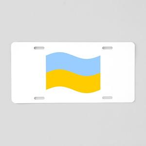 Waving Ukraine Flag Aluminum License Plate