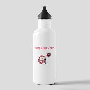 Custom Cartoon Pink Love Owl Water Bottle