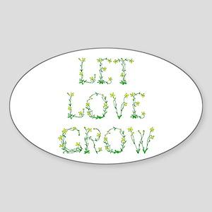 Let Love Grow Oval Sticker