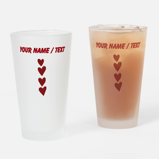 Custom Vertical Red Hearts Drinking Glass