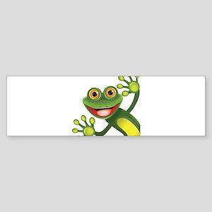 Happy Green Frog Bumper Sticker