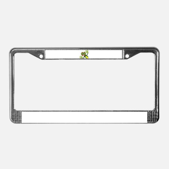 Happy Green Frog License Plate Frame